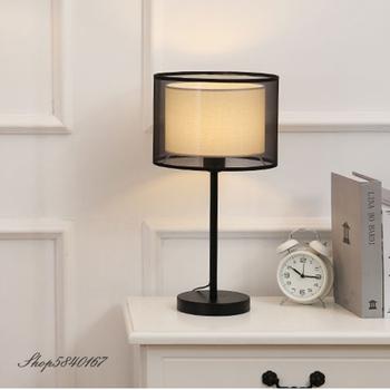Europa kreatywny przy łóżku lampa dwuwarstwowa lampa stołowa do salonu lampka nocna dekoracja studium 90-260V LED na biurko tanie i dobre opinie XunShiNi Do sypialni Black Wiszący C06136 iron Materiałowy Wtyczka UE 90-260 v Pokrętło Żarówki LED Europejska Malowane