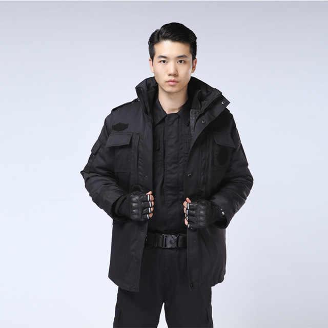 블랙 보안 가드 유니폼 따뜻한 겨울 야외 파카 육군 유니폼 전술 긴 소매 코트 Windproof 자켓 훈련 낚시