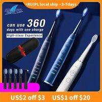 SEAGO-cepillo de dientes eléctrico inteligente para adultos, cepillo dental sónico para 5 modos con 4 cabezales y 1 cepillo Interdental SG575, regalo de pareja