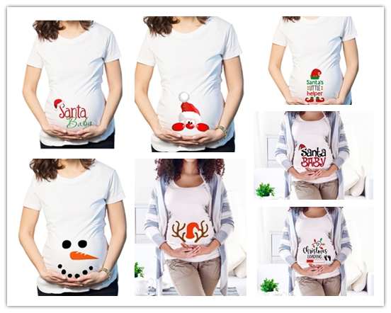 Maternity Clothes Womens Clothing Pregnant MaternityShort Sleeve Christmas Hat Print Ladies Blouse одежда для беременных Z4