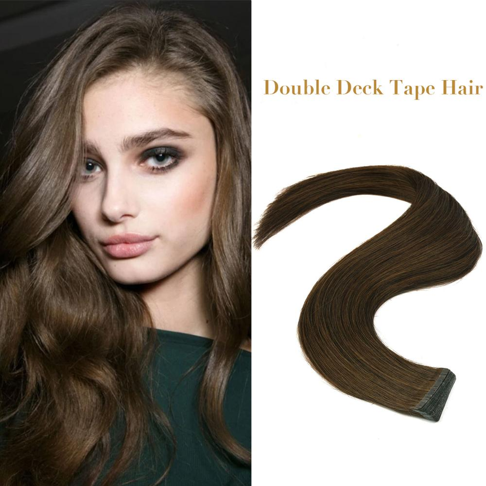 """Neitsi Double-deck Invisible Remy Tape In Real Hair Extensions 100% Natural Human Hair Straight Double Drawn Skin Weft 20"""" 50cm"""