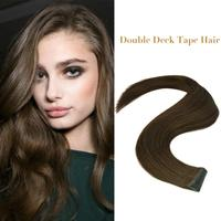 "Neitsi Double-deck Invisible Remy Tape In Real Hair Extensions 100% Natural Human Hair Straight Double Drawn Skin Weft 20"" 50cm"