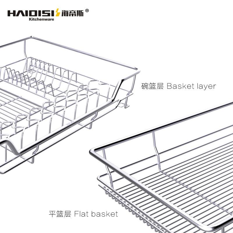 Haidisi stainless steel pull basket damping 304 kitchen cabinet pull basket drawer type dish rack seasoning rack dish bowl