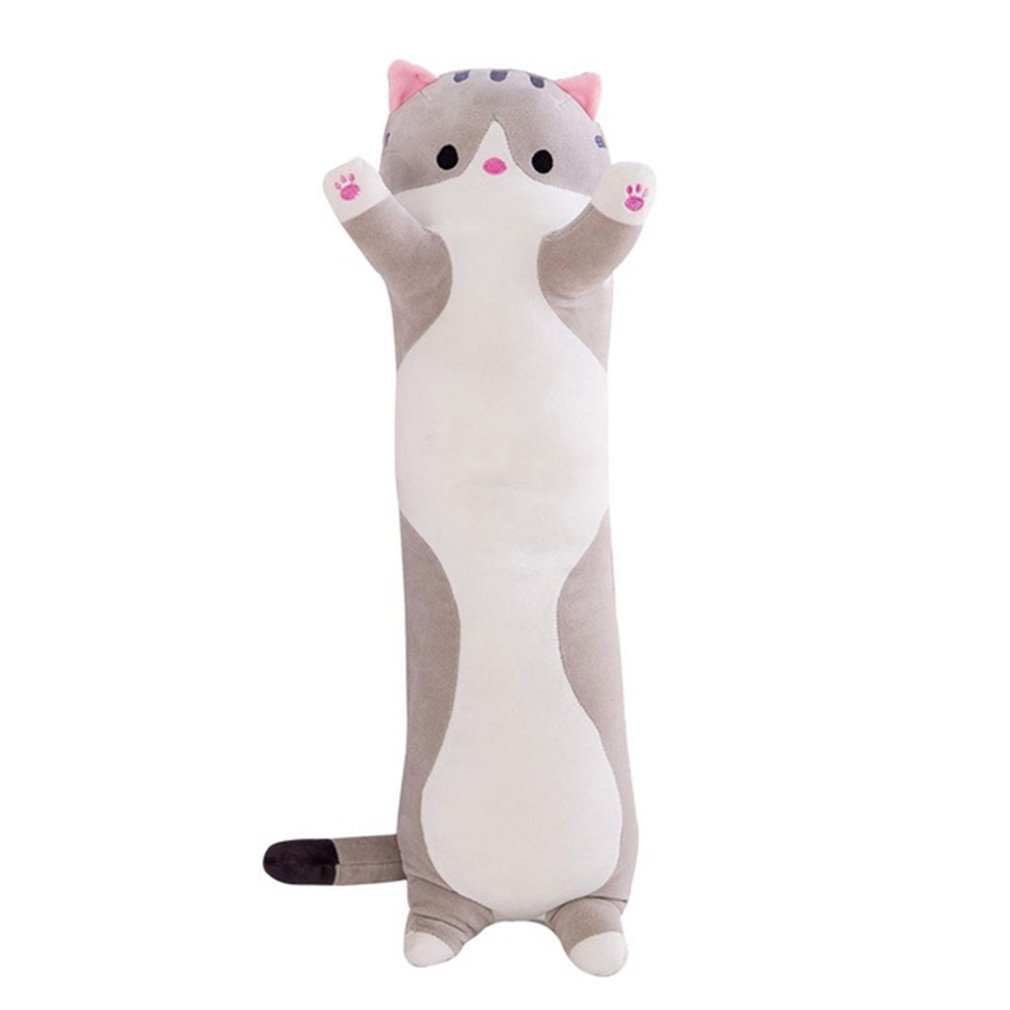 90cm Cute Plush Cat Doll Soft Stuffed Kitten Pillow Doll Toy Gift for Kids Girlfriend Neck Headrest Pillow