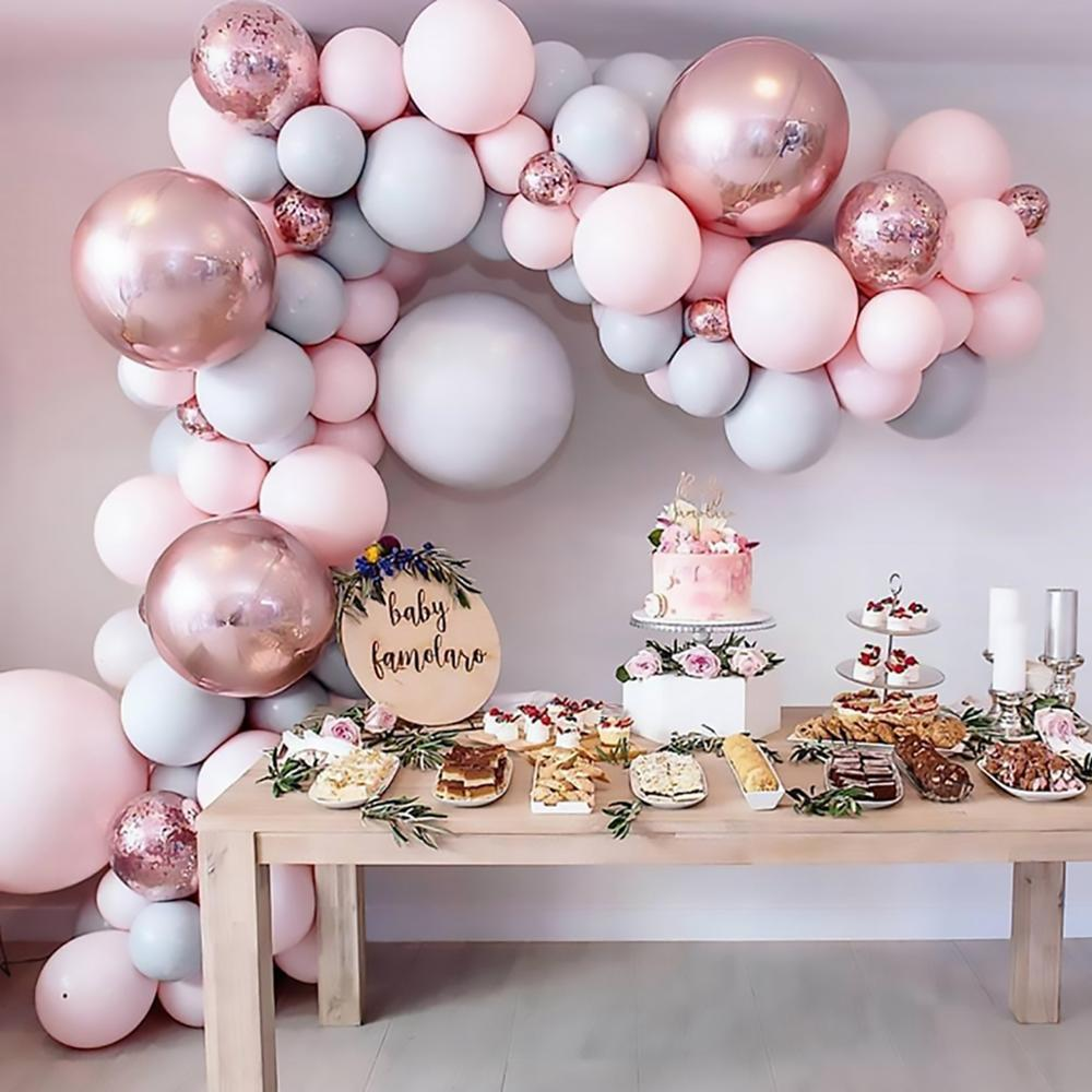 Macaron Pink Balloon Garland Arch Kit Wedding Birthday Party Decoration Kids Globos Rose Gold Confetti Latex Ballon Baby Shower 5