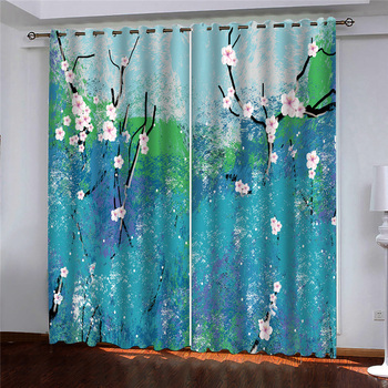3d Curtains Blackout for Living Room Kids Bedroom Fabric Blue green flowers doodle custom 3d curtain fabric