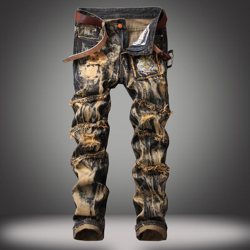 Denim Designer Hole Jeans High Quality Ripped for Men Size 28-38 40 42 2020 Autumn Spring HIP HOP Punk Streetwear