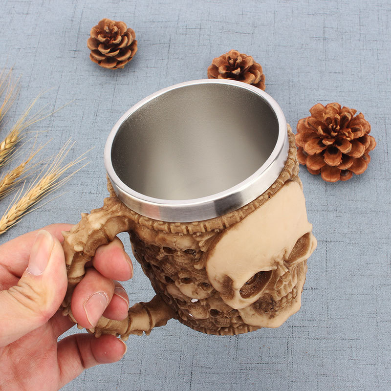 Criativo copo de café leite personalidade copo aço inoxidável grande capacidade escritório copo água 3d estéreo crânio caneca