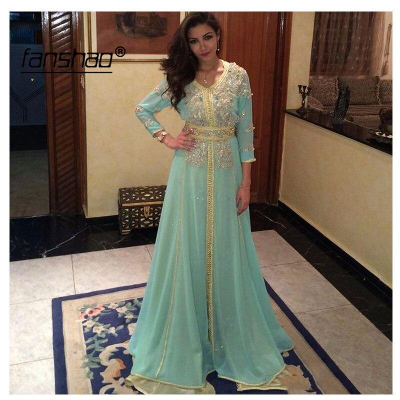 Mint Green Muslim Evening Dress Gold Lace Three Quarter Dubai Moroccan Kaftan Dress Formal Dress Evening Party Gown New Arrival