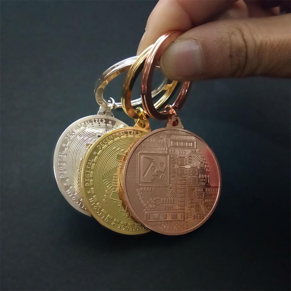 Gold Plated Bitcoin Coin Key Ring Collectible Gift Casascius Bit Coin BTC Coin Art Collection Physical Commemorative Key Chain-2
