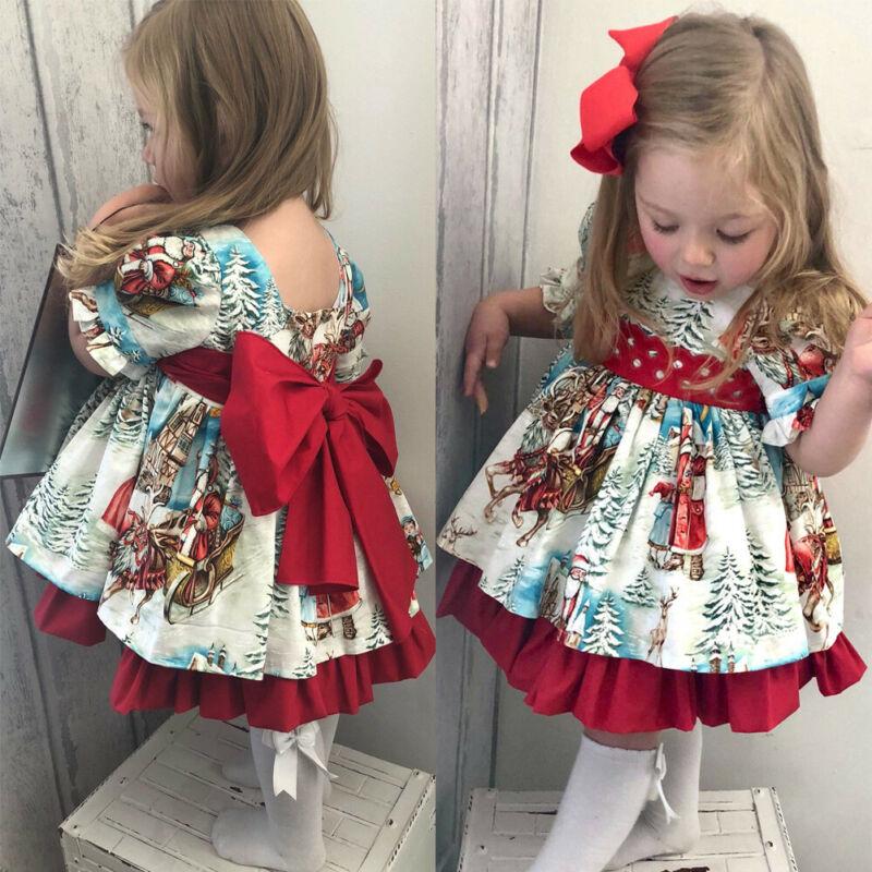 2019 Christmas Princess Dress Cute Toddler Baby Girl Dress Cartoon Printed Bow Tie Belt Ruffled Tutu Sweet Baby Birthday Dress