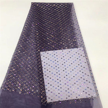 Purple African Seuqins Lace Fabric 2020 Black Embroidered French Nigerian Lace Fabric High Quality Lace For Party Royal Blue
