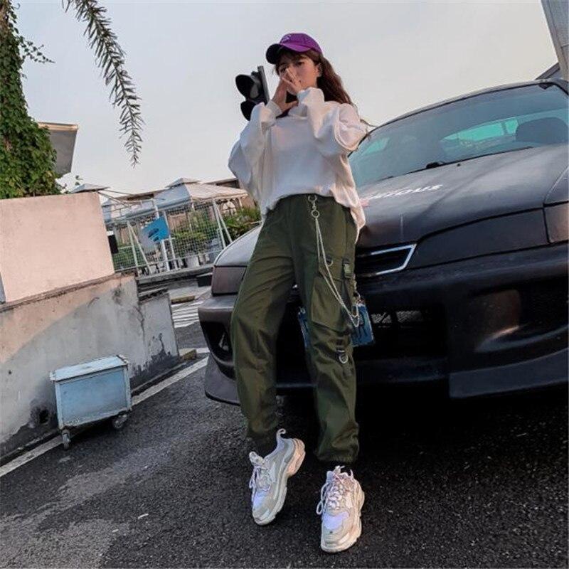 Women Cargo Buckle Ribbon Pocket Jogger Elastic Waist High Streetwear Harajuku Pant Punk Ring Chain Plus Size