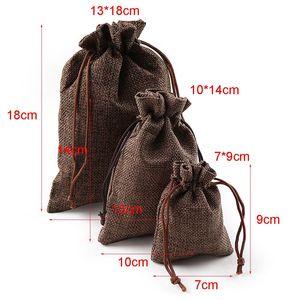 Image 5 - 10 шт рождественские льняные джутовые подарочные сумки с кулиской, мешки для свадьбы, дня рождения, вечеринки, подарочные сумки с кулиской, Детские принадлежности для душа