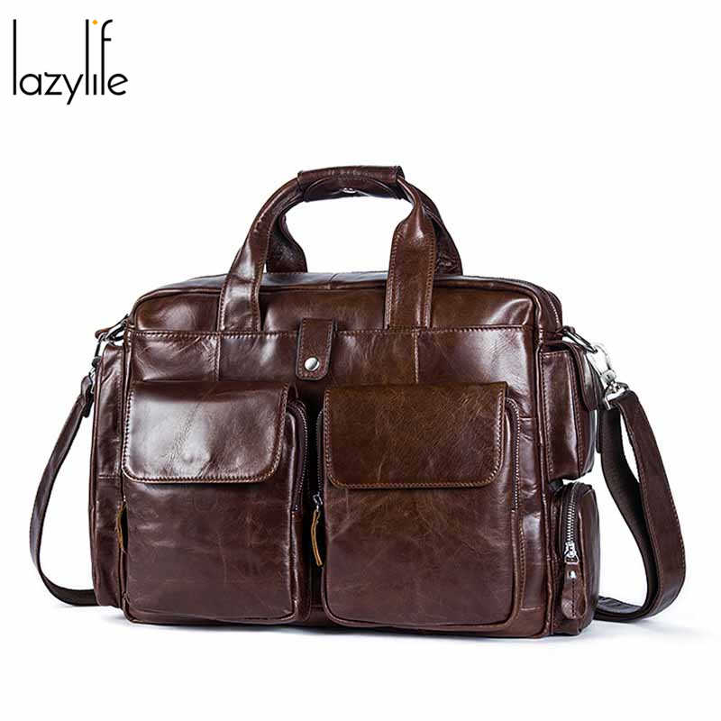 LAZYLIFE Top Sell Fashion Simple Dot Famous Brand Business Men Briefcase Bag Leather Laptop Bag Casual Man Bag Shoulder Bags