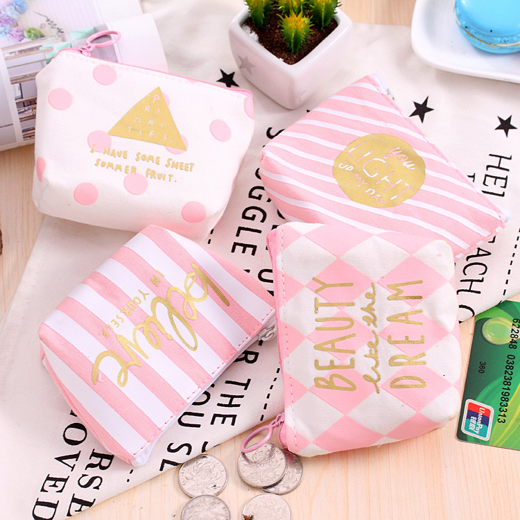 Japanese Korean Children Purse Zipper Cute Coin Students Carrying Short Canvas Stationery Bag