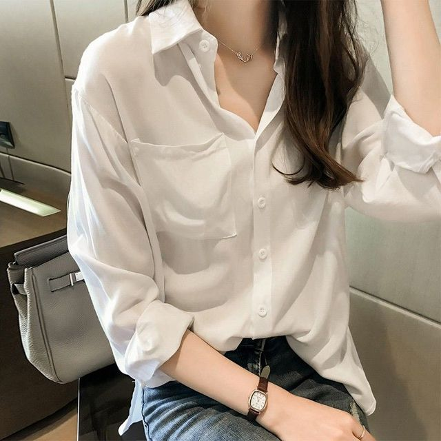 2020 Autumn Elegant Long Sleeve Solid Chiffon Blouse Female Work Wear Shirts Blouse Turn-down Collar Shirts Plus Size 4XL K113 2