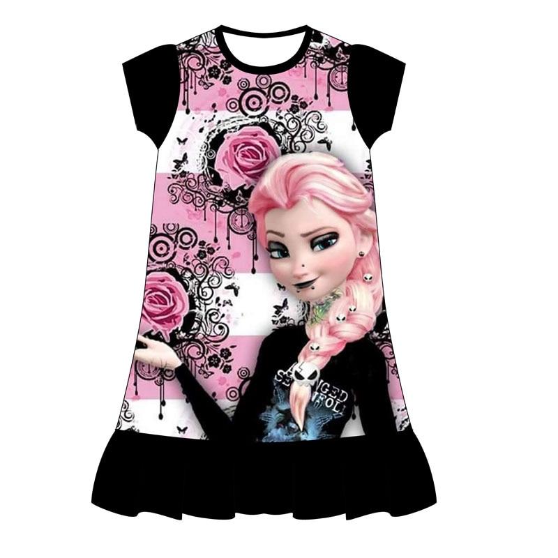 2019 New Summer Kids Dresses For Girls Princess Dress Unicorn Flamingo Print Cartoon Design Girls Clothing For 3-8 Year