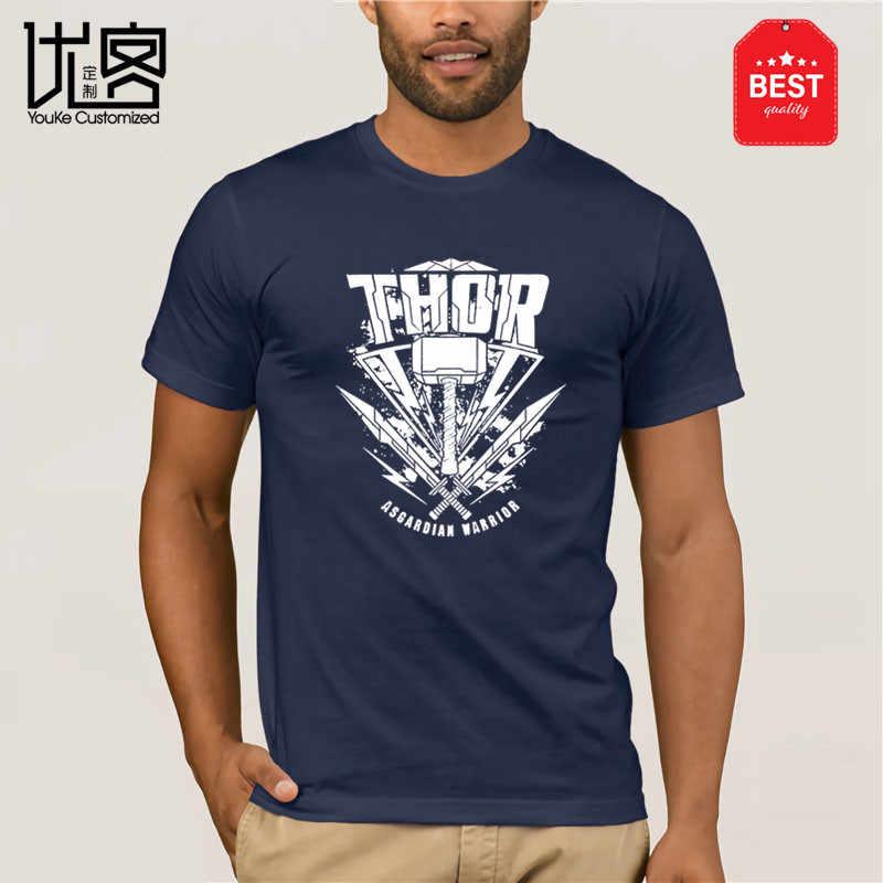 Tamanho do logotipo do martelo de thor ragnarok da marvel dos homens oficialmente licenciado t-shirts da forma S-XXL ajuste magro o pescoço