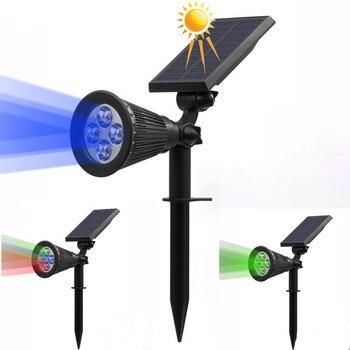 Solar LED Light RGB Color Changing Spotlight Garden Landscape Outdoor Lights Decoration Powered Wall Waterproof Lamp
