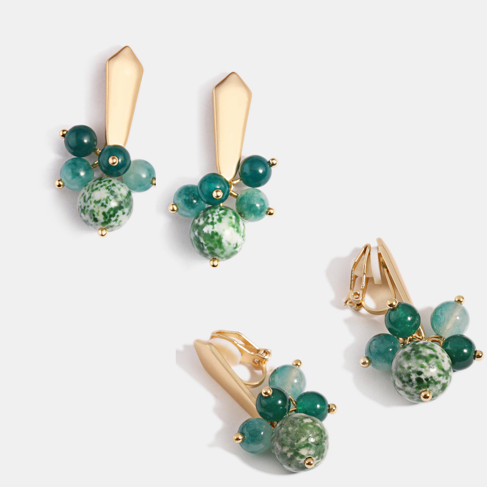 Elegant Green Natural Stone String Beads Gold Minimlist Clip On Earrings Without Pierced For Women Girl Ear Clips Gift Wholesale