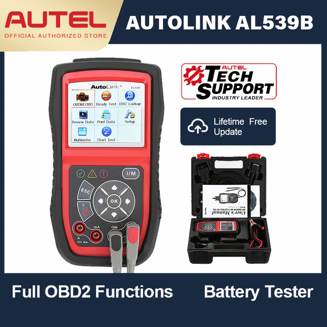Autel הקישור האוטומטי AL539B OBD OBD2 רכב אבחון 12 V קוד קורא סוללה מנתח טעינת מערכת סורק מעגל מבחן כלי