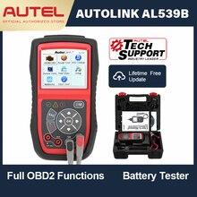 Autel autolink al539b obd obd2 carro de diagnóstico 12 v leitor código analisador bateria sistema carregamento scanner ferramenta teste circuito