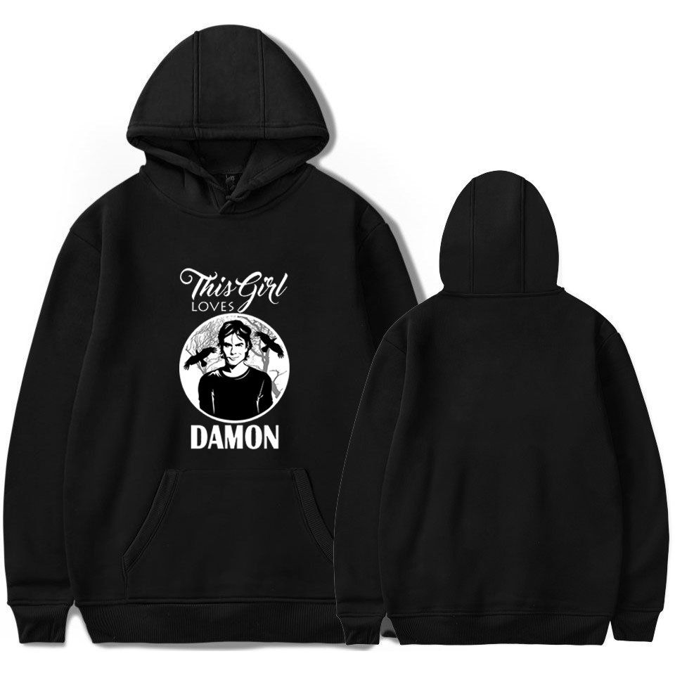 The Vampire Diaries DAMON Hoodies Harajuku Sweatshirt Men Streetwear Hoodie Women Clothing Ropa Adolescente Mujer Winter Hooded