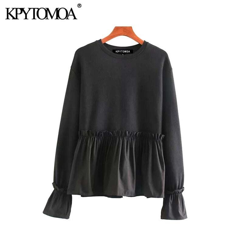 Vintage Sweet Ruffles Black Sweatshirt Women 2020 Fashion O Neck Long Sleeve Female Pullovers Chic Tops