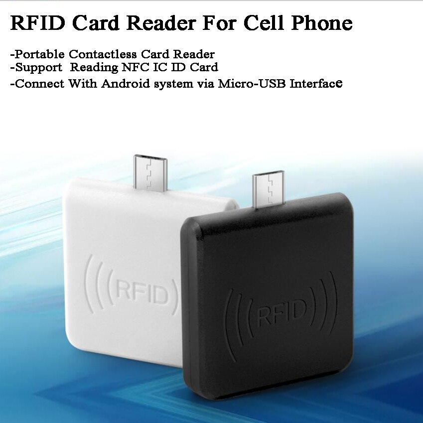 125KHz/13.56MHz Mobile Phone NFC/IC/ID/ Card Reader RFID Reader Micro-USB Port Portable EM4100/TK4100/14443A/NTAG203/213/MF S50