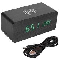 Wecker Holz Qi Drahtlose Aufladen Uhr Sound Control Digitale Uhr Uhr Temperatur 12/24 Stunden Display 3 Gruppen von Alarm|Wecker|Heim und Garten -