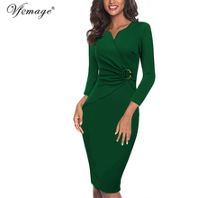 Vfemage Women Autumn Winter Elegant Ruched Embellished Waist Work Office Business Cocktail Party Bodycon Pencil Sheath Dress 007