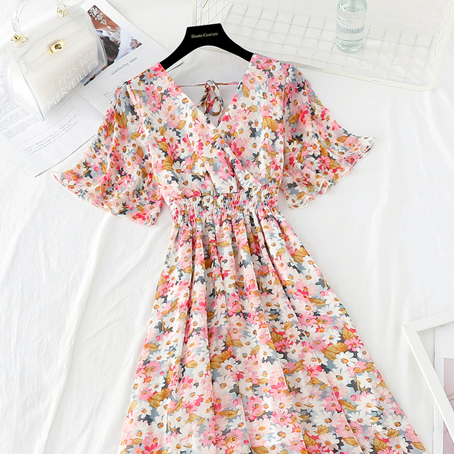 Summer Fairy Dress Women French Style Vintage Retro Chiffon Dress Short sleeve Casual Elegant Floral Print Dress Women 2021 New 2