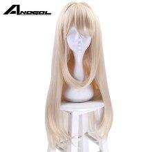 Парик для косплея Anogol, брендовые фиолетовые длинные волнистые синтетические волосы блонд, для вечевечерние НКИ и костюма на Хэллоуин