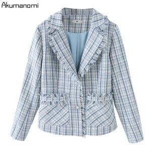Image 4 - Ekose 2 parça Set kadın sonbahar mavi artı boyutu 5xl 4xl 3xl tam kollu cep püskül üstleri Mini etek iki parça kıyafetler eşofman