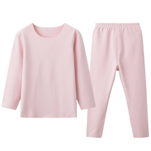 Pants Thermal-Underwear-Set Long-Sleeves Girls Winter Thick Solid Tops Daily Round-Neck