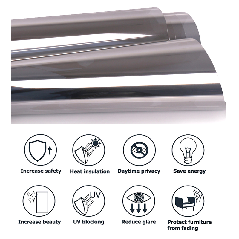 sunice 1x3m prata filme janela uma maneira espelhada matiz solar prata vidro reflexivo adesivo controle de