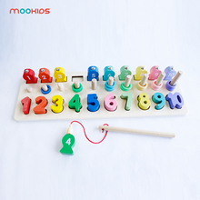 Wooden montessori digital jigsaw puzzle blocks stack fishing games early childhood education toys parent-child interactive цена 2017