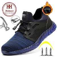 Hohner Sicherheit Unzerstörbar Schuhe für Männer Sicherheit Stiefel Schuhe Winter Arbeit Pelz Warm Männer Stiefel Stahl Kappe Kappe Größe Plus 35-48