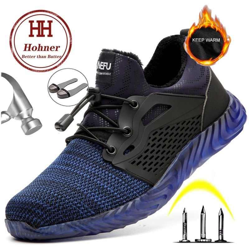 Hohner güvenlik yıkılmaz ayakkabı erkekler için güvenlik botları ayakkabı kış iş kürk sıcak erkek botları çelik burun boyutu artı 35- 48
