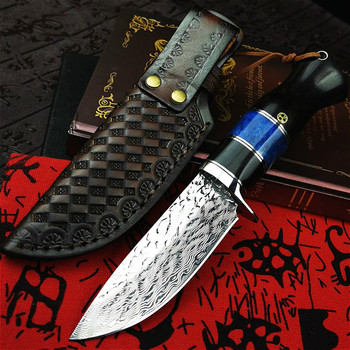 PEGASI Damascus steel ebony handle straight blade classic G10 steel core high hardness outdoor hunting knife tactical knife damascus steel outdoor tactical straight knife boutique collection knife high hardness self defense straight knife