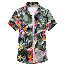 Summer Men black whole body floral printed Hawaiian vacation casual shirts Hip hop male Slim Short sleeve shirt Plus Size 7XL