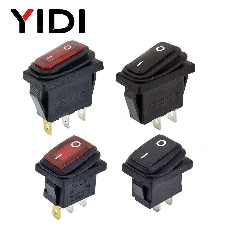 12V 220V Red LED Light 10A 250V AC Waterproof Rocker Switch 3 Pin SPST ON OFF Car Dashboard Boat Marine KCD1 Rocker Switch