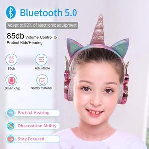 Image 2 - 귀여운 유니콘 블루투스 5.0 헤드폰 무선 여자 아이 만화 스테레오 헤드셋 내장 마이크 전화 게이머 이어폰 선물
