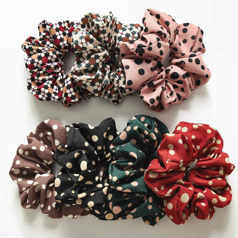 1Pc Women Girls Chiffon Hair Scrunchies Ponytail Holders Rubber Band Headdress Elastic Hair Rope Tie Hair Accessories