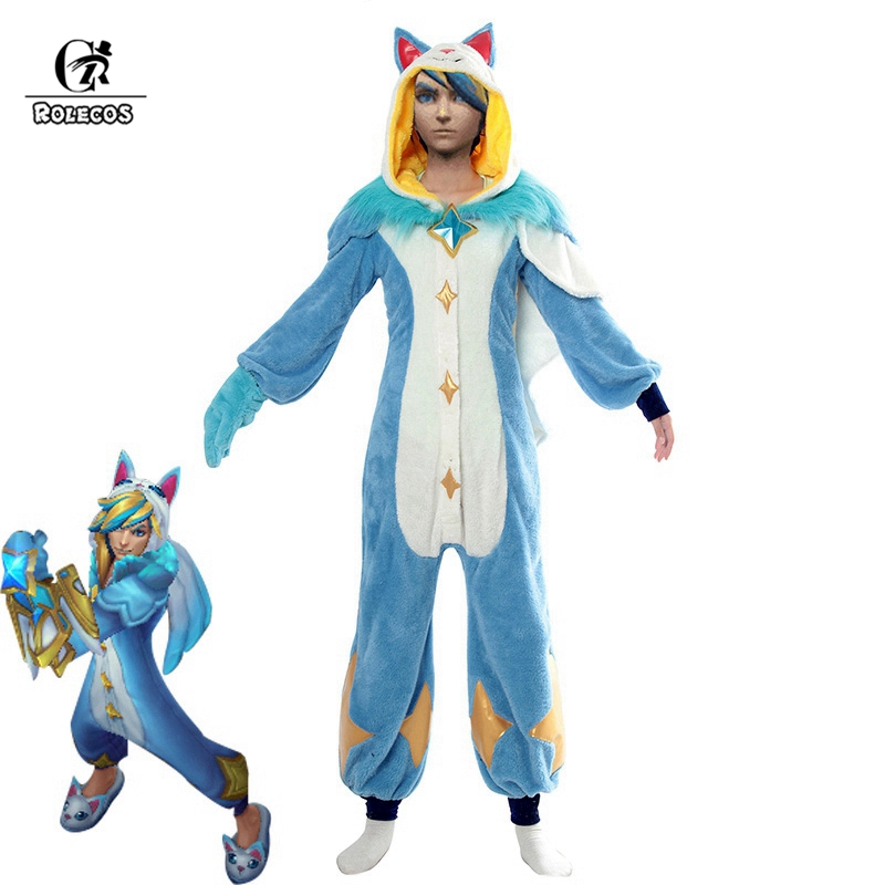 ROLECOS Ezreal LOL Original Cosplay Costume Pajama Star Guardian LOL Cosplay Costume Ezreal Star Guardian Winter Pajama Women
