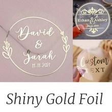 100 uds, pegatinas personalizadas de oro brillante de lámina Real, etiquetas de favores, transparentes, pegatinas de boda personalizadas