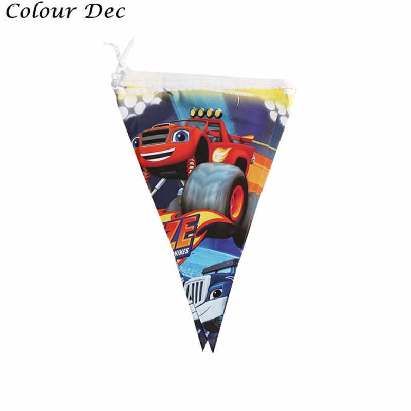 1 set/pak Gelukkige Verjaardag Jongens Gunsten Vlaggen Blaze Monster Machines Thema Banner Decoraties Baby Shower Evenementen Wimpels