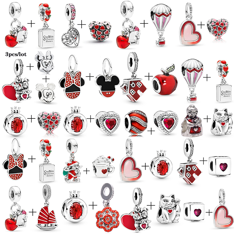 2Pcs/lot Special Offer Red Lucky Cat & Mickey Beads Charms Fit Pandora Bracelet & Necklaces For Women Jewelry Making Accessories(China)