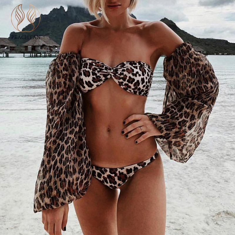 Peachtan Leopard Print Swimwear Women Bikini 2020 Mujer Long Sleeve Swimsuit Female Biquinis Sexy Bandeau Two-Piece Bathing Suit